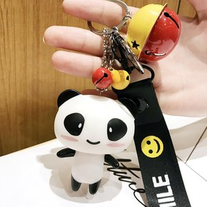 Creative Cartoon Panda Key Chains Cute Couple A Gift Bag Pendant Bell Key Chain Car Pendant Keychain Ring Charm Jewelry 10 Pieces lot