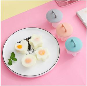 4pcs set Cute Egg Boiler Plastic Egg Poacher Set Kitchen Egg Cooker with Lid Brush WB1885