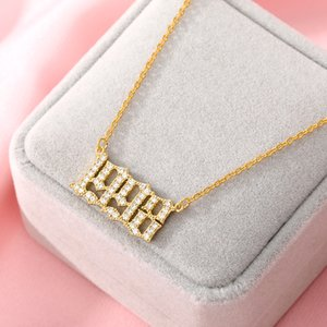 Women Year Number Necklace Crystal Zircon Digital Pendant 1985 To 2020 Birthday Gift Year Of Birth Gold Jewelry Chains Wholesale
