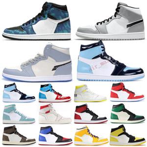 1 Yüksek Basketbol Ayakkabı 1s Kraliyet Siyah Parmak Çam Yeşil Siyah Mahkemesi Mor Beyaz UNC Patent Erkekler Kadınlar Stilist Sneaker Eğitmenler
