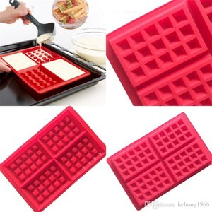 Baking Mold Cake Tool Silicone Mould Waffle DIY Non Toxic Safety Biscuits Red Rectangle Hot Sale 3 8mh V