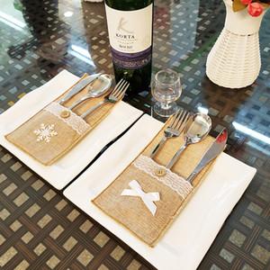 Noel partisi ev dekorasyonu için Vintage Jüt Dantel bulaşığı Çanta Çatal Bıçak çatal bıçak çuval bezi Kılıfı Tutucu Rustik Düğün Masa Dekorasyon