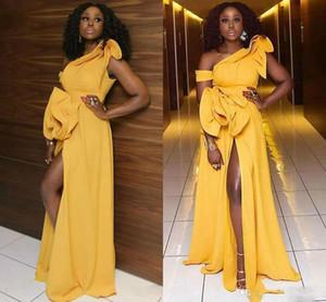 아프리카 하나 숄더 댄스 파티 드레스 허벅지 높은 슬릿 계층 다듬은 주름 저녁 드레스 사용자 정의 만든 바닥 길이 칵테일 파티 드레스