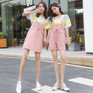 Women 2020 Summer Fashion T-shirt And Overalls Casual Suits Female Striped T-Shirt Tops Loose Short Overalls Two Piece Set L252