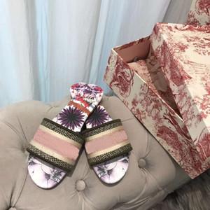 Damen Hausschuhe Sandalen Flache Schuhe schieben Dazzle Blumen-Stickerei-Sandale mit Blumen Striped Strand Slipper Flip Flops
