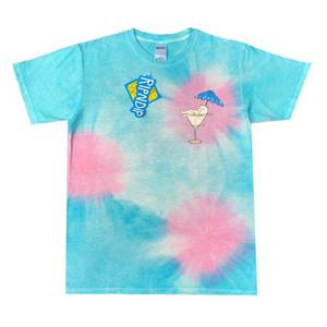2020 Hip Hop USA Summer sale poche nermtini T Skateboard concepteur Hommes vacances Tie Dye Verre à vin de chat t-shirt femmes Rue T-shirt décontracté
