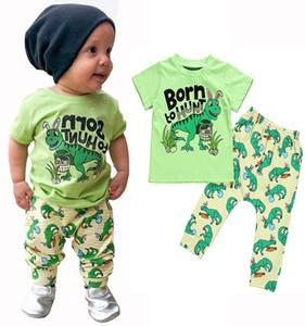 Bebê Menino Dos Desenhos Animados Conjunto Crianças Roupas De Grife Tema de Páscoa Menino Dinossauro T-Shirt Terno Criança Bebê Coelho Orelha Cenoura Carta Calças Conjunto 06