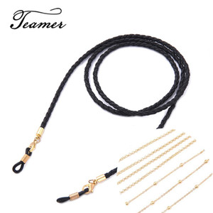 79 Chains Lanyard Strap Braid Leather Eyeglass Glasses Chain Beaded Cords Reading Glasses Eyewear Accessories