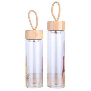 380ml 450ml Homme Femme verre transparent Coupes thé monocouches avec des cordes Bouteille d'eau Coupe du bambou Couvercles Waters ZZA1020