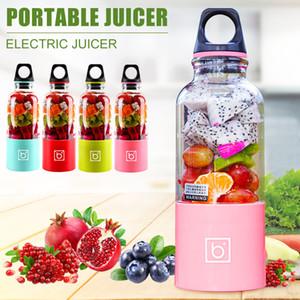 500 ml de capacidad USB portátil Botella de Hogares Handheld eléctrico Licuadora Exprimidor de fruta Mezclador Copa w / acero inoxidable Hojas de DIY que hace jugo