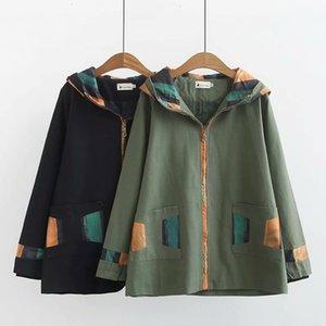 Plus Size Trench Casual manteau Femme Automne 2019 Mode coton couleur contrastée manches longues à capuche vêtement J8-925