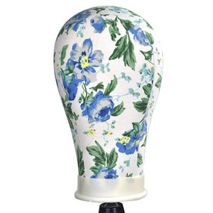 Blaue Blumen-Leinwand-Block-Männchen-Mannequinkopf-Modell für Haar-Verlängerung Toupet Spitze-Perücke machen Styling Cap-Ausstellungsstand
