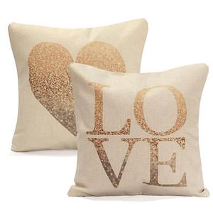 Ropa de AMOR del corazón funda de almohada de algodón 45X45cm retro suave de la vendimia Throw amortiguador de la cintura cubierta Sweet Heart Home Cafetería bricolaje