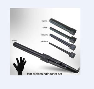 5 in 1 Curling Wand Set di arricciatura dei capelli Tong capelli Curl Ferro La Bacchetta dei capelli del rullo del bigodino Gift Set 09-32mm bigodino bacchetta UE spina degli Stati Uniti