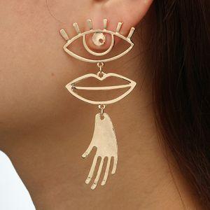 Évider Yeux Lèvres Boucles d'oreilles design Palm Charm Exagéré Dangle Boucles d'oreilles de style européen américain pour DHL femmes Déclaration de bijoux