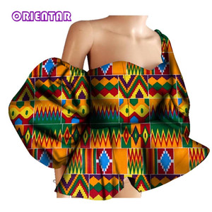 New 100% Cotton Women Shirts African Wax Draped Print Shirts for Women Bazin Riche Patchwork African Style Clothing WY3397