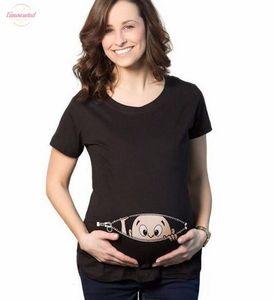 2020 summer baby peeking out print Pregnancy women t-shirt fashion tops harajuku clothing pink funny hip hop streetwear homme