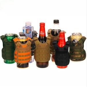 7 Farbe Mini Tactical Weste Outdoor Molle Weste Miniatur Wein Bier Champagner Flasche Weste Getränkekühler Verstellbarer Schultergurt