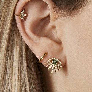 Мода кристалл Сглаз Стад серьги для женщин золото пролитого масла Малые серьги винтажные pendientes Mujer ювелирные изделия Earing