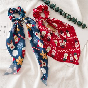 Kids Printed Xmas Headbands Horsetail hair Rope Elastic Christmas Tree Santa hairband Girls xmas Hair ribbon Tie Accessories LJJA3513-31T