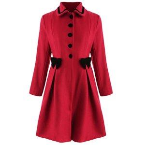 Joineles Plus Size Bowknot Abrigo de palangre adornado Cuello bajo Un solo pecho Vintage Femenina Mezclas de lana Ropa formal