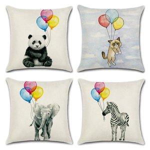 Yastık Kapak Sıcak Hava Balonu Hayvan Fil Panda Pamuk Keten Yastık Kapak Sky Ev Dekoratif Yastık