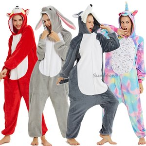 New Unicorn Pijama onesie Mulheres Kugurumi panda Inverno pijama de flanela Kigurumi Adulto Nightie Ponto unicornio Pijamas Macacões