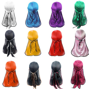 22 Styles Men Women Satin Durag Bandana Turban Beanie Male Silky Hip Hop Headwear Headband Pirate Hats Ourdoor Caps Hair Accessories