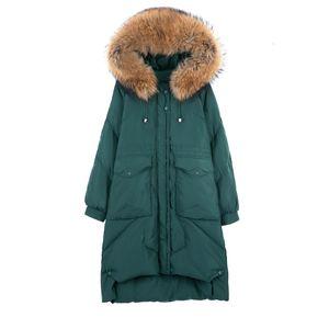 (TopFurMall) Зима Женщины Parkas вниз пальто куртки Real Raccoon Fur Lady Hoody X-Long Outwear шинель LF9175 DT191029