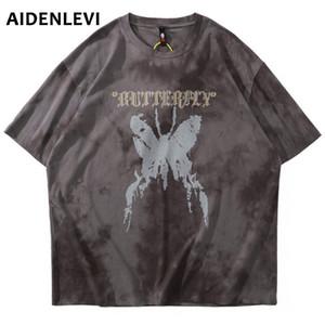 AIDENLEVI Distressed stampa della farfalla Tie Dye maglietta Streetwear Harajuku Hip Hop Casual cotone manica corta Tees camice Mens Tops