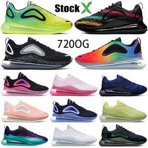 Popular 720OG Homens Mulheres Running Shoes esporte 72C formadores preto Neon Streaks Volt preto da meia-noite da marinha tênis Sneakers platina pura