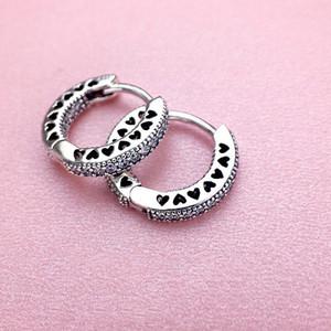 boucles d'oreille diamant CZ gros-classique pour l'argent sterling 925 Pandora avec la boîte rose cadeau de vacances dames plaqué or