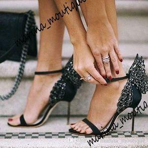 2021 Evangeline Angel Wing Sandal Plus Plus Размер 42 Натуральная Кожа Свадебные Насосы Розовые Блеск Обувь Женщины Бабочка Сандалии Босоножки