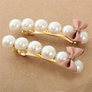 Korean version of the small fresh bow hairpin word pearl hairpin simple headdress sales jewelry