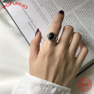 POFUNUO Real 925 Sterling Silver Black Onyx Vintage Chic Кольца Женщины Стильный Агатовые сделать старые Проблемные свадебные кольца Open