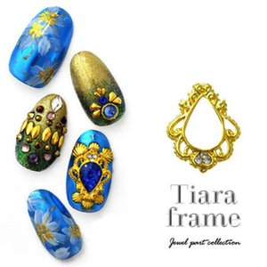 20pcs Japon Alaşım Nail Art Dekorasyon Diamond / inci Bırak Şekli Çiviler Aksesuarları ile Retro Metal Tiara Frame 3d