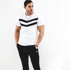 Designer Fitness Men Tshirt Short Sleeves Black Undershirt Homme Solid Stripe Mens Tops Slim Male Tees