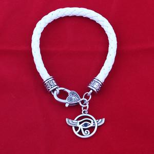 FT02 DIY Handmade Round Black Leather Braided Wax Bracelet Fashion Lucky Alloy eye predant Bracelet