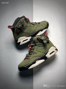 Retro Kids Travis Scotts x Kid Air 6 Cactus Jack Medium Olive GLOW IN THE DARK Army Green Suede 3M Retro Basketball Shoes Size 11C-3Y