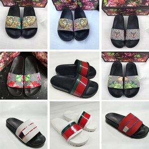 2019 Erkek Kırmızı Siyah Çizgili Çiçek brocade Arı Kaplan Tasarımcı Terlik Bayan Moda Lüks Dişli Altları Yassı Slaytlar Sandalet Boyutu 36-45