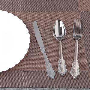 retro serie gruesa desechable cuchillo y tenedor cuchara plástica parte occidental de carne flatware 60 / set