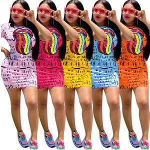 Été femme Lettres robe et les lèvres imprimer Robe sexy mini-jupe à la mode fendus Robes Casual manches courtes T-shirt Robe D61605