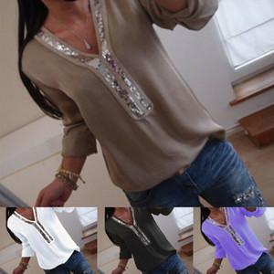 Verão Mulheres Casual Sólidos Chic elegante Irregular V-Neck Blusas de manga comprida Além disso Tops capuz Shirts