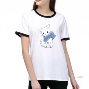 Marke Damen Designer-T-Shirts Luxus Printed DIY-T-Stücke 2020 Sommer-heißen Verkaufs-Karikatur-T-Shirt 2 Farben Größe S-2XL T003A447