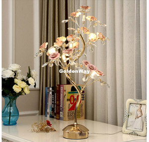 Современная керамическая цветок Настольная лампа Гостиная Исследование LED Crystal Light Villa Hotel Свадебные украшения светодиодные настольные лампы Главная Декоративное освещение