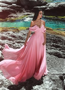 Pas cher Une Ligne En Mousseline De Soie Hors Épaule Plus La Taille Blus Rose Longue Robes De Demoiselle D'honneur 2019 Nouvelles Robes De Soirée Sexy Robe De Soirée De Bal