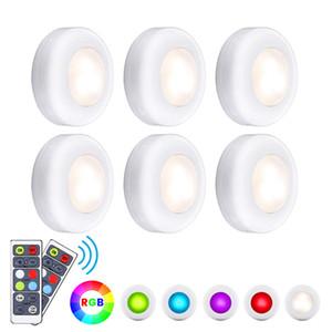 Светодиодные фары RGB Puck Lights 16 цветов беспроводного освещения под шкафом Ночные огни с батарейным питанием с таймером диммера