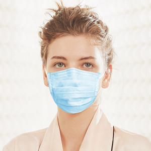 Blau 3 Schicht Non-Woven-Anti-PM2.5 Einweg Safety Mund Nase Masken Schutz Earloop Weiche Masken für Erwachsene schnelles Verschiffen
