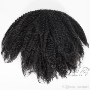 Бразильская 4C Afro Kinky волос хвостик 120г хвоща Natural Black Virgin Резинка кулиской человеческих волос Curly Ponytail Наращивание волос
