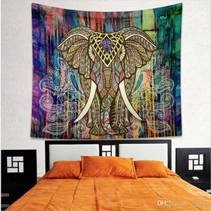 Elephant Printed Bohemian Square Tapestry Yoga Mat Fashion Towel Beach Towel Shawl Landscape Wall Tapestry 130*150cm Bedroom Decorations